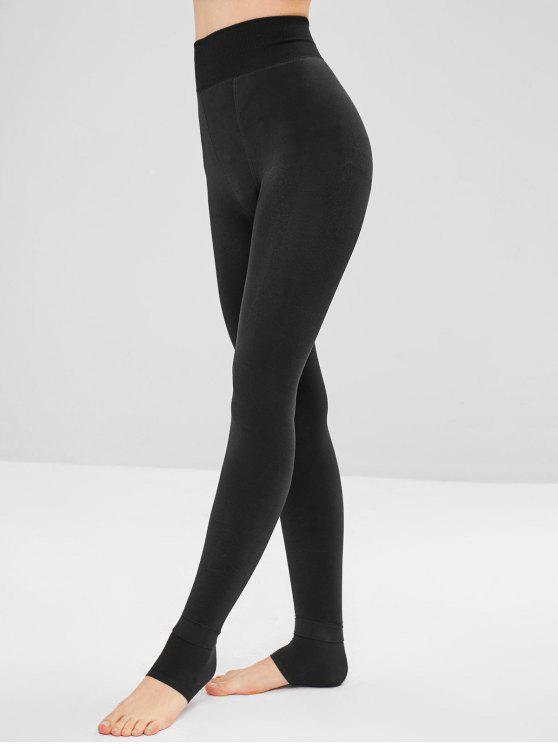 Leggings de cintura alta de lã com estribo - Preto Um Tamanho