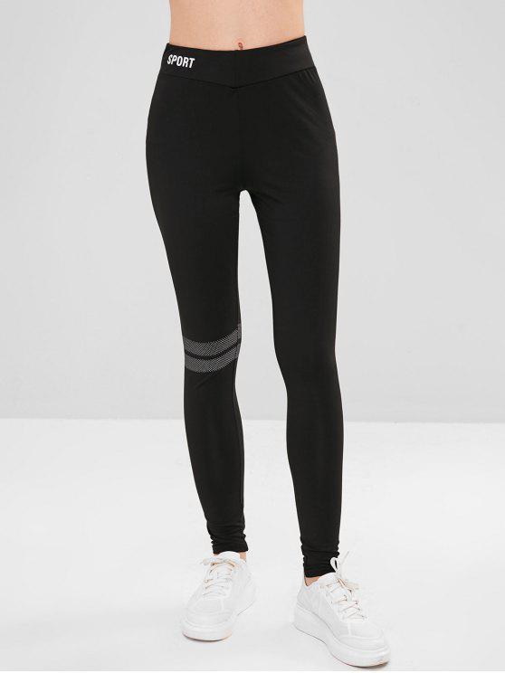 Medias de rayas de puntos leggings - Negro S