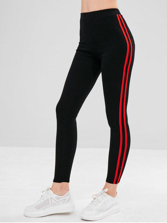 new Stripe Trim Elastic Thick Leggings - RED ONE SIZE