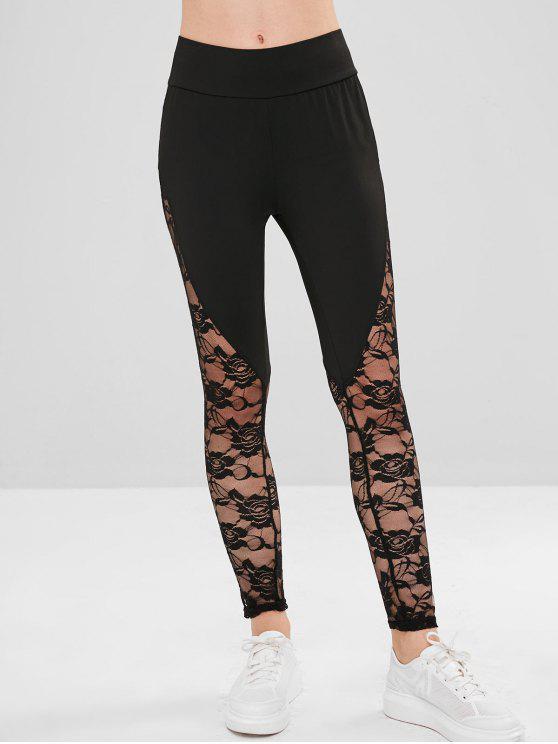 Leggings con paneles de encaje transparente - Negro L