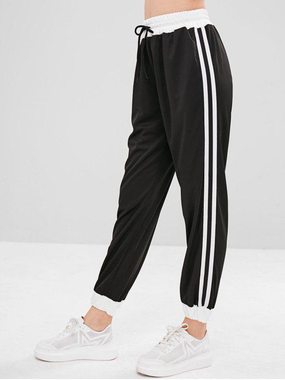 Pantalones de joggers de talle alto con cinta lateral - Negro S