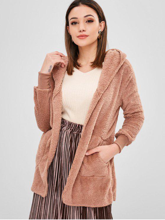 Casaco de lã frontal com capuz aberto - Rosa Laranja L