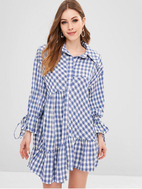 Plaid plissado vestido assimétrico - Oceano Azul Um Tamanho