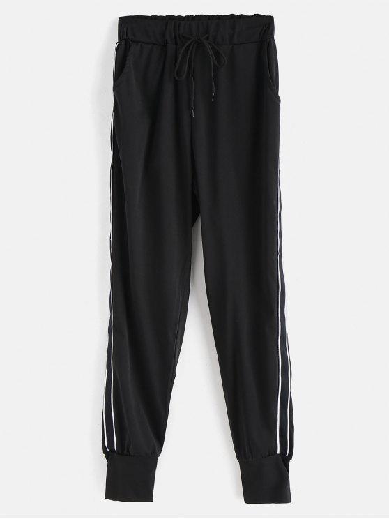Pantalones de lazo de raya - Negro L