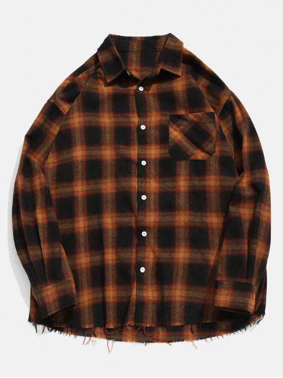 Camisa a cuadros de dobladillo deshilachado - Amarilla de Abeja  L