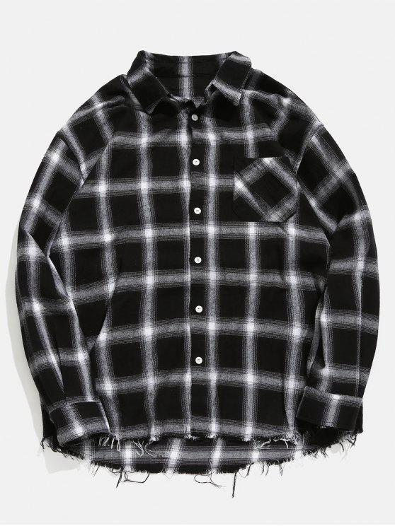 Camisa de manta desgastada da bainha - Cinza  L