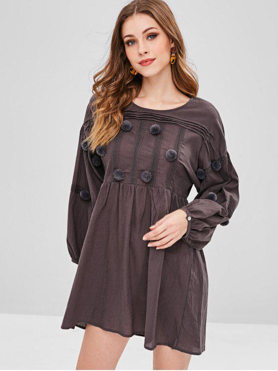 1959964324a5 35% OFF  2019 Crochet Pom Pom Drop Shoulder Dress In COFFEE S