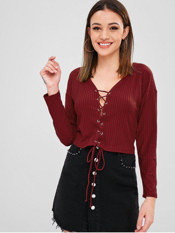 T-Shirt In Maglia Con Lacci A Scollo Profondo - Vino Rosso M
