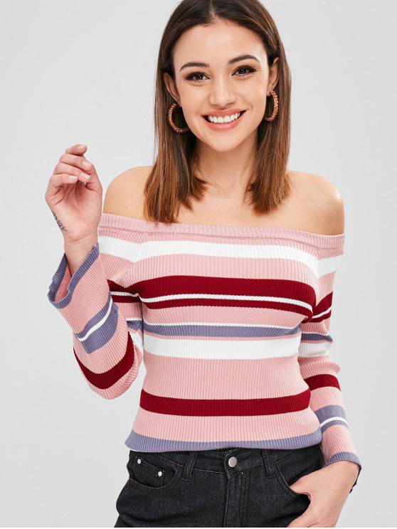 Camisola Flare Off Sweater Stripes Ombro - Multi Um Tamanho