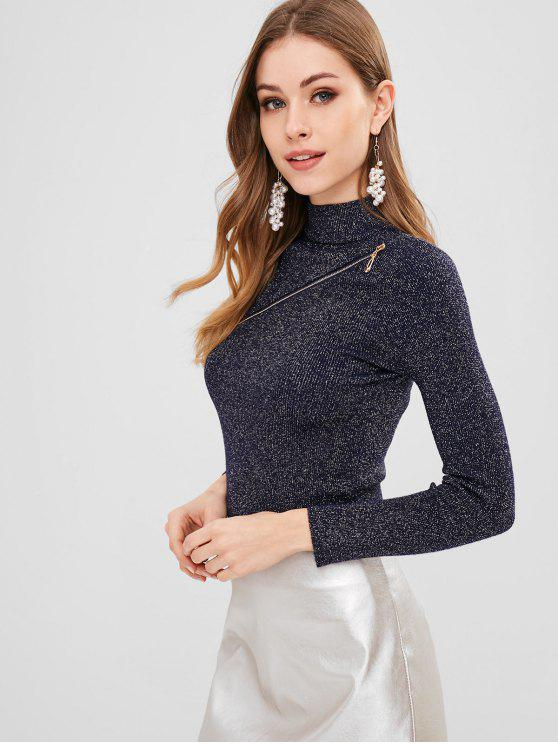 women's Shiny Zippered Mock Neck Sweater - MIDNIGHT BLUE ONE SIZE