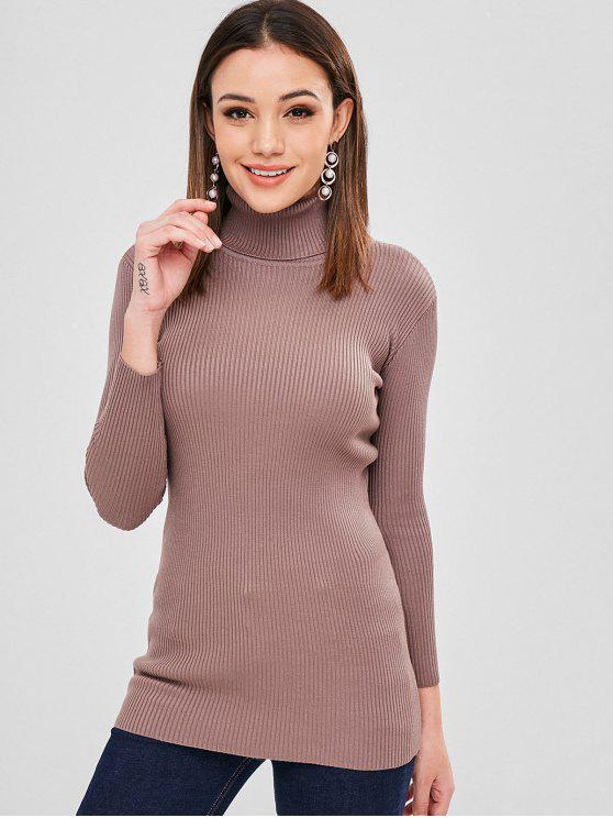 best Ribbed Slim Turtleneck Sweater - PUCE ONE SIZE