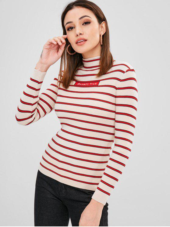 new Stripes Graphic Mock Neck Sweater - MULTI ONE SIZE