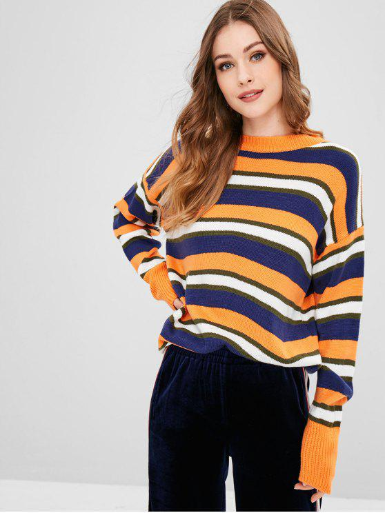 outfit Striped Drop Shoulder Pullover Sweater - MULTI ONE SIZE