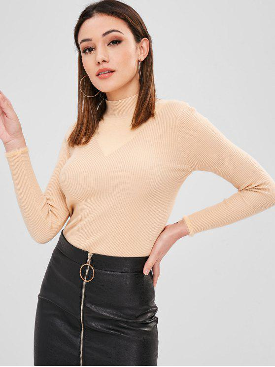 sale Fuzzy Ribbed Slim Sweater - LIGHT KHAKI ONE SIZE