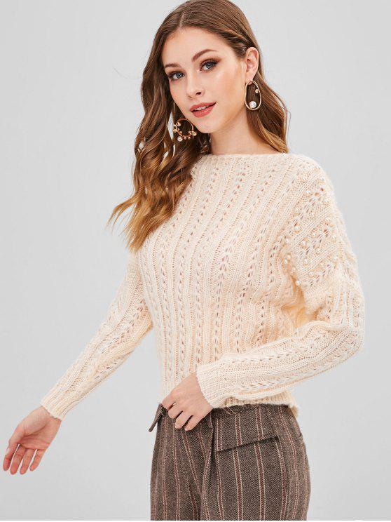 buy Loose Knit Slash Neck Beaded Sweater - APRICOT ONE SIZE