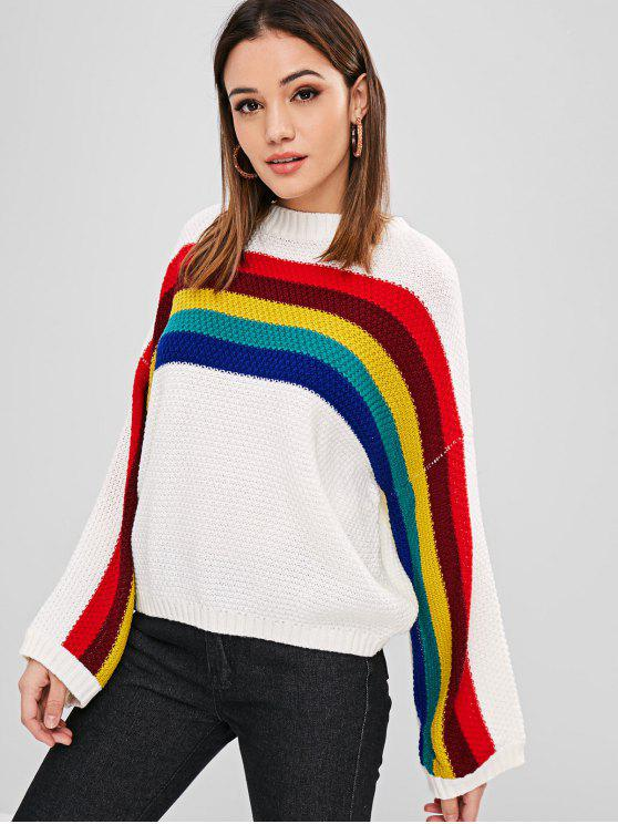 women Drop Shoulder Pullover Colorful Stripes Sweater - WHITE ONE SIZE