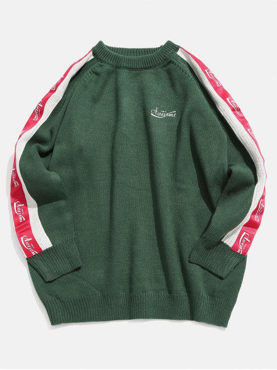 new Sleeve Letter Stripe Patchwork Knit Sweater - DARK GREEN XL