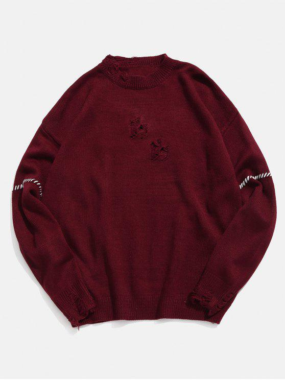hot Contrast Braided Cable Detail Ripped Knit Sweater - RED WINE XL