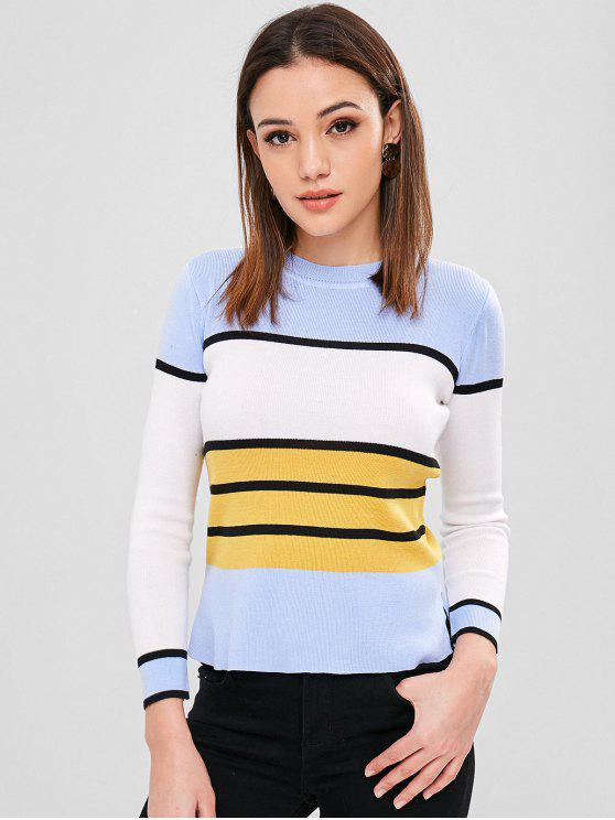 outfit Slit Contrast Striped Sweater - MULTI ONE SIZE