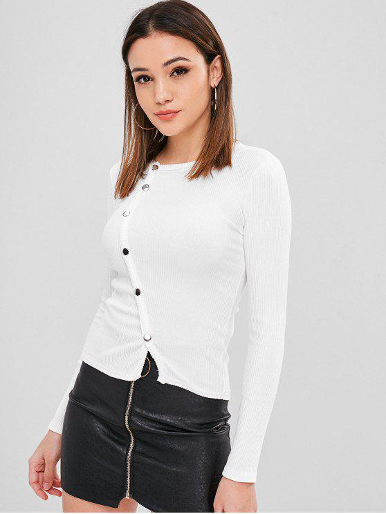 outfits Buttons Embellished Plain Knitwear - WHITE ONE SIZE