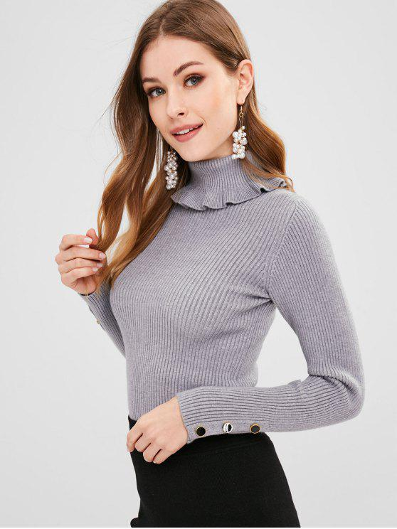 chic Buttoned Cuffs Ribbed Turtleneck Sweater - BLUE GRAY ONE SIZE