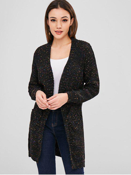 shops Open Front Heathered Cardigan - BLACK ONE SIZE