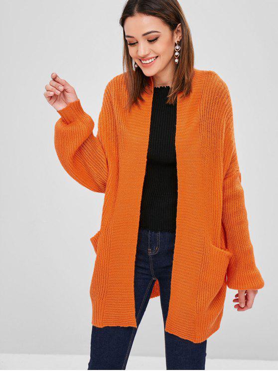 Laternenärmel Plain Open Cardigan - orange  XL