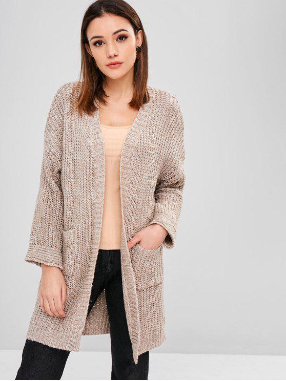 fancy Pocket Drop Shoulder Longline Cardigan - TAN ONE SIZE