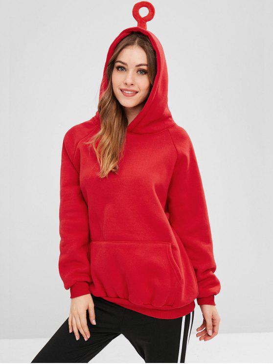 unique Front Pocket Oversized Hoodie - LAVA RED ONE SIZE