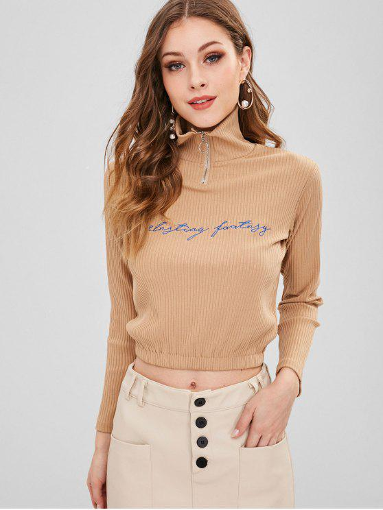 shop Zipper Letter Embroidered Ribbed Sweatshirt - CAMEL BROWN M