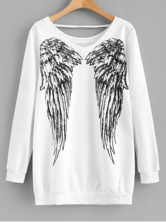 lady Wing Print V Neck Longline Sweatshirt - WHITE XL