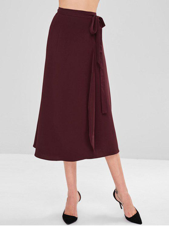 outfit Wrap Tie Up Midi Skirt - RED WINE ONE SIZE