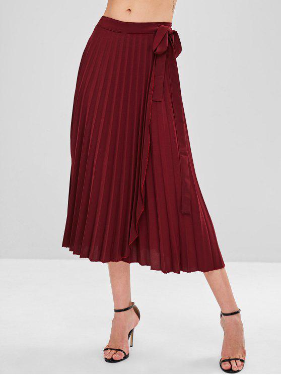 fashion Pleated Wrap Tie Waist  Midi Skirt - RED WINE ONE SIZE
