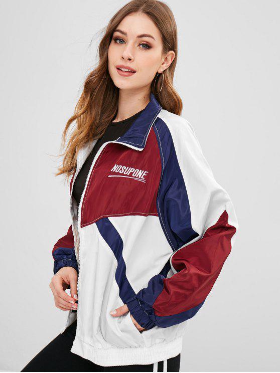lady Color Block Embroidered Windbreaker Jacket - MULTI XL