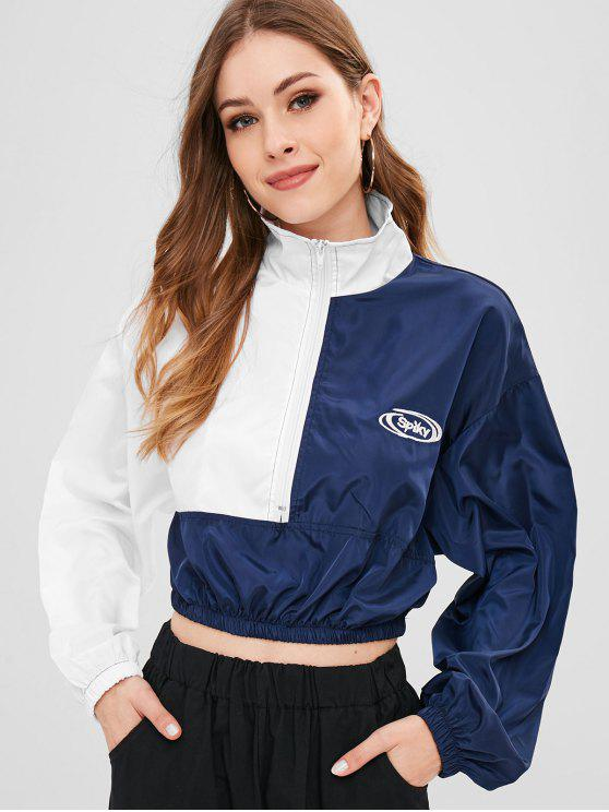 best Half Zip Colorblock Graphic Cropped Jacket - MULTI-A ONE SIZE