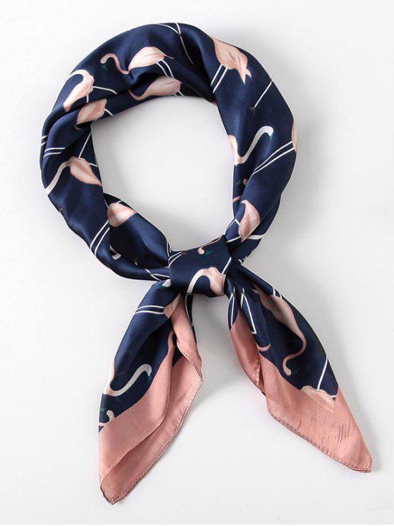 unique Elegant Flamingo Printing Silky Scarf - CADETBLUE