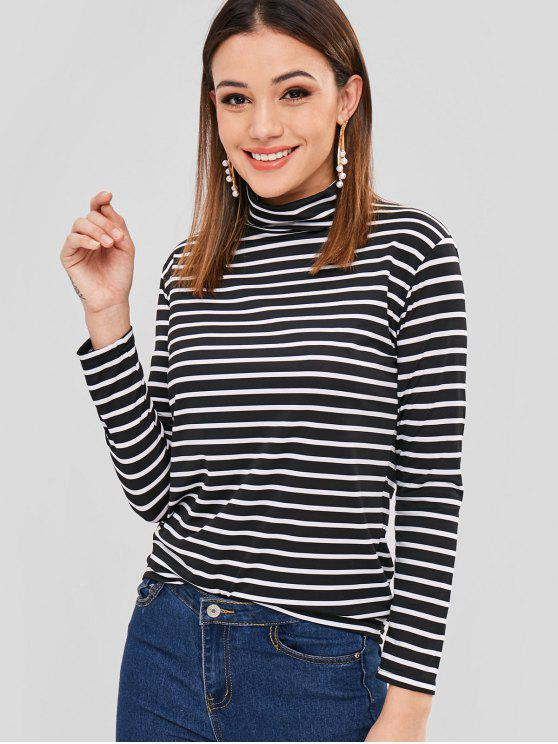 ladies Turtleneck Long Sleeves Stripe Top - BLACK XL