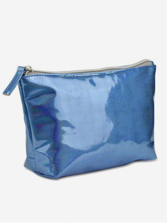 fashion Dreamy Laser Shiny Zipper Cosmetic Bag - OCEAN BLUE