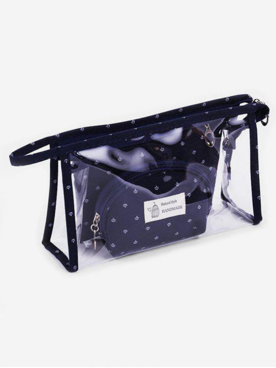 hot Multifunctional 3 Pcs Transparent PVC Cosmetic Bag Set - CADETBLUE