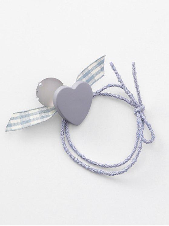 chic Heart Plaid Pattern Bowknot Hair Tie - GRAY