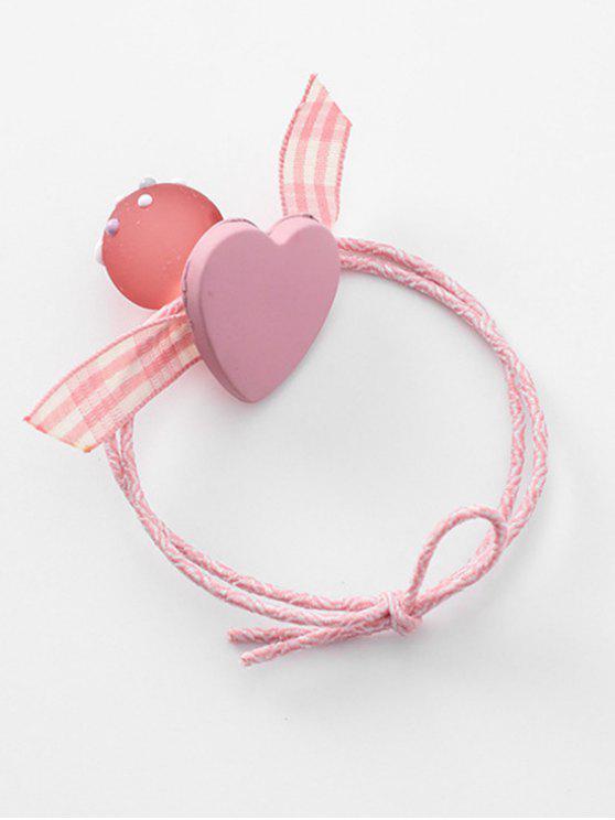 fashion Heart Plaid Pattern Bowknot Hair Tie - PINK