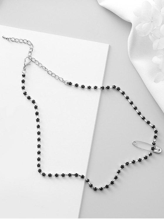chic Safety Pin Design Rhinestone Chocker Necklace - MIDNIGHT BLUE