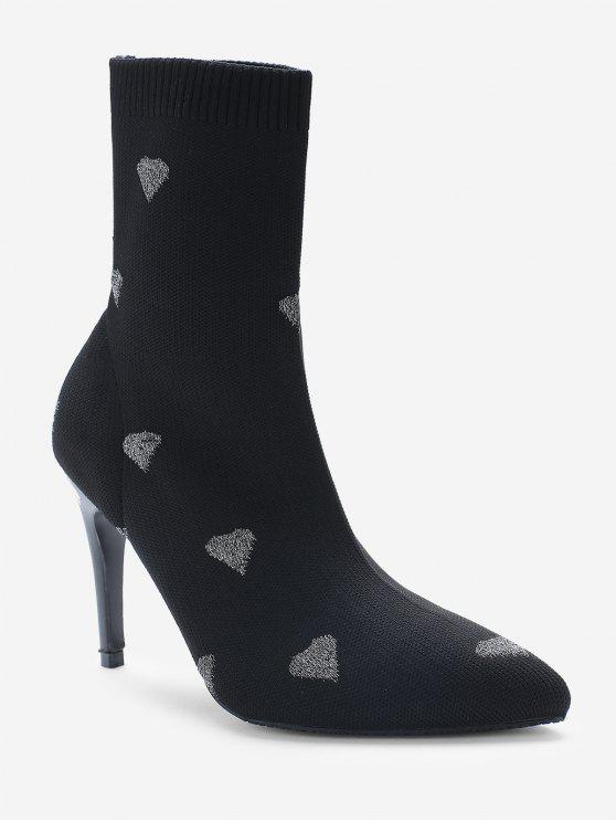 new Heart Print Stiletto Heel Pointed Toe Sock Boots - SILVER EU 38