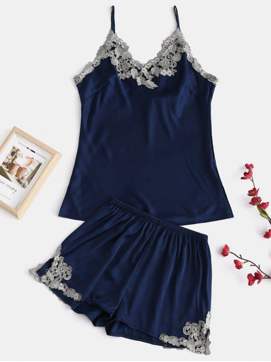 fancy Satin Embroidered Cami Sleep Set - LAPIS BLUE M