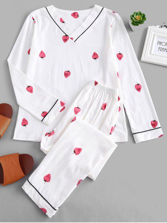 affordable Strawberry V Neck Long Sleeve Pajama Set - WHITE M