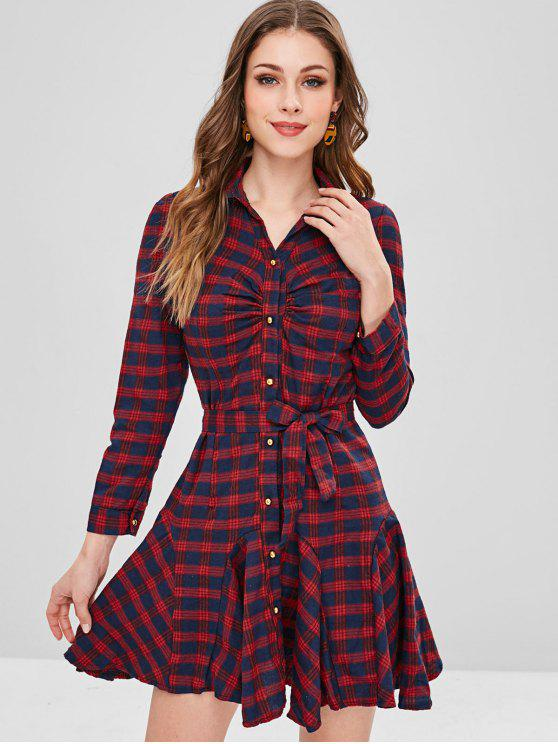 Vestido de camisa fruncida a cuadros - Multicolor S