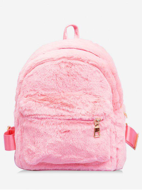 outfit Plush Leather Design Student Backpack - PINK