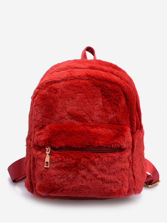 chic Plush Leather Design Student Backpack - RED