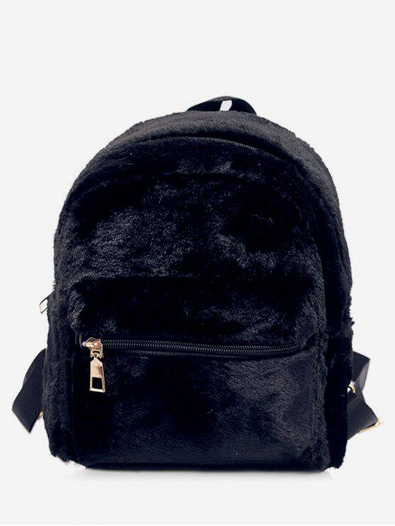 womens Plush Leather Design Student Backpack - BLACK
