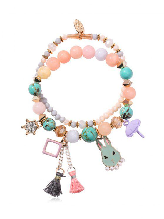 affordable Layered Rhinestone Rabbit Pattern Tassel Bracelet - MULTI-J